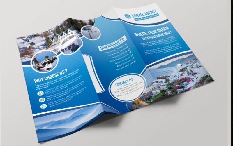 Tri Fold Travel Brochure PSD