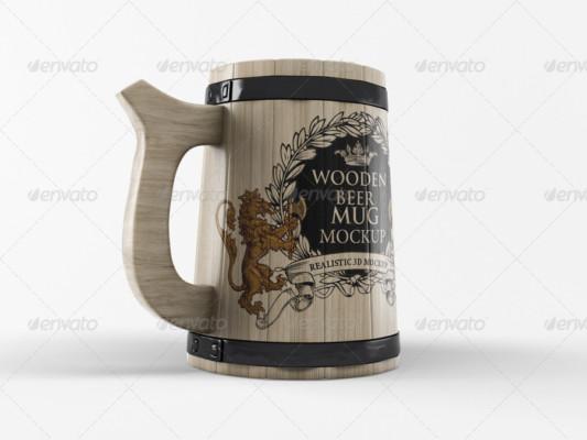 Wooden Beer Mug Mockup