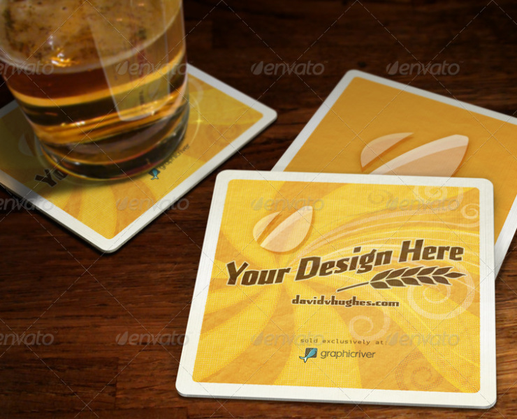 bar coster mock-up bottle mockup