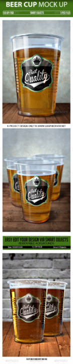 beer cup beer bottle mock-up 1