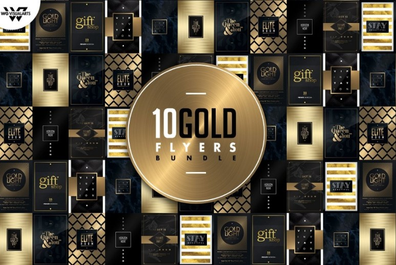 10 Minimal Gold Flyer Template Bundle