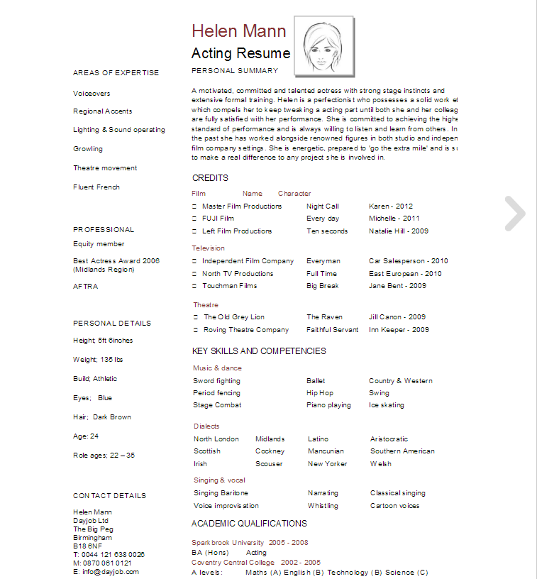 acting resume template download now
