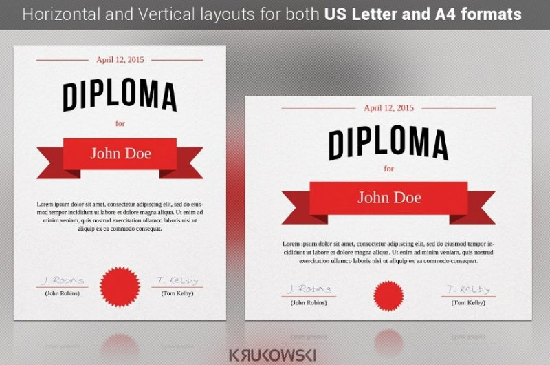 A4 Diploma Certificate Template