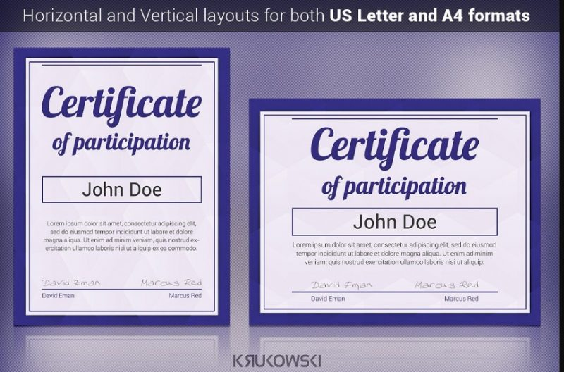 A4 and US Letter Certificate Template