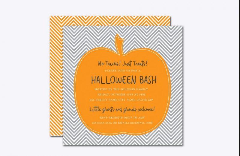 Chevron Pumpkin Invitation Template