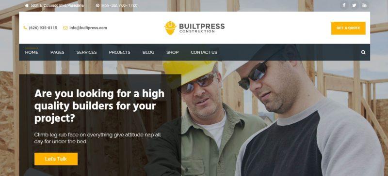 Clean Construction WordPress website Theme