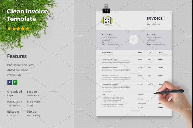 Clean Invoice Template PSD