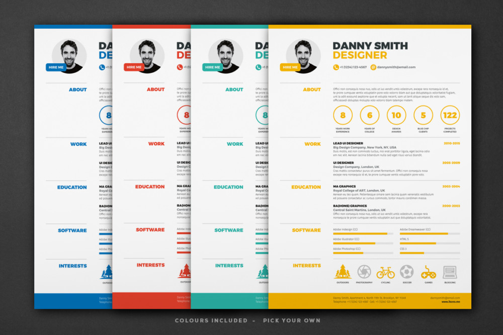 One Page Resume Template  Ai Indesign Psd And Word Format