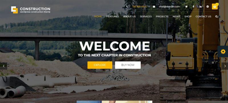 Construction Business WordPress Theme Editable