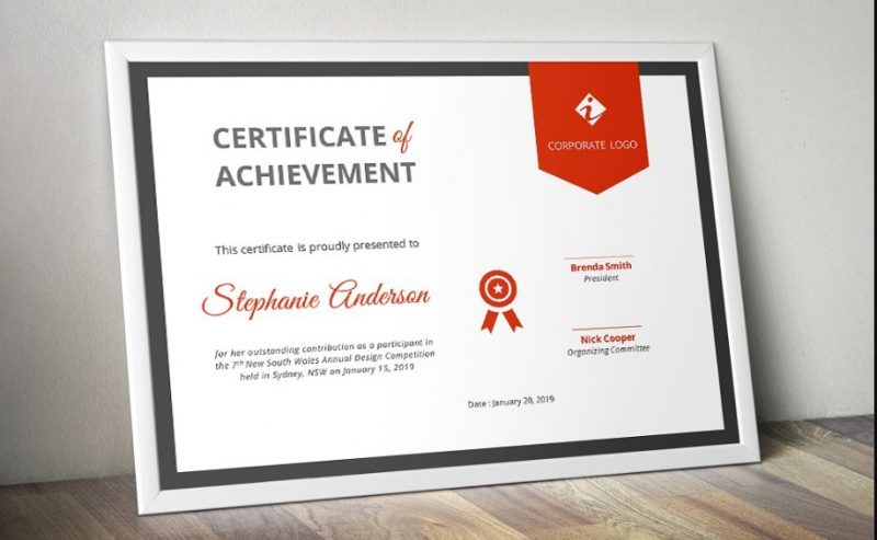 Corporate Certificate of Participation Template