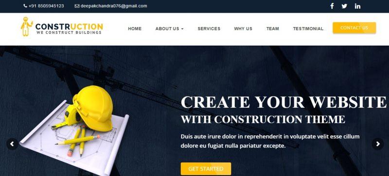 Creative Construction WordPress Theme