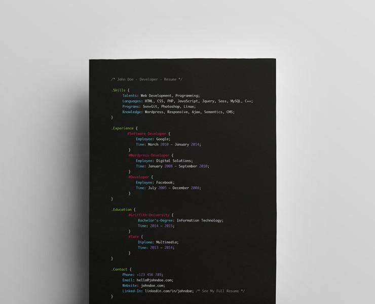 Creative Web Developer Resume Template
