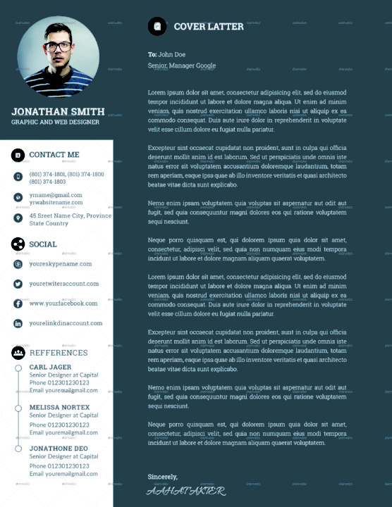 Easy Editable Resume Template and Cover Letter
