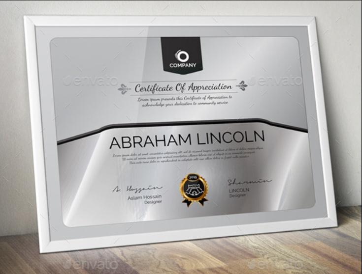 Elegant Appreciation Certificate Template
