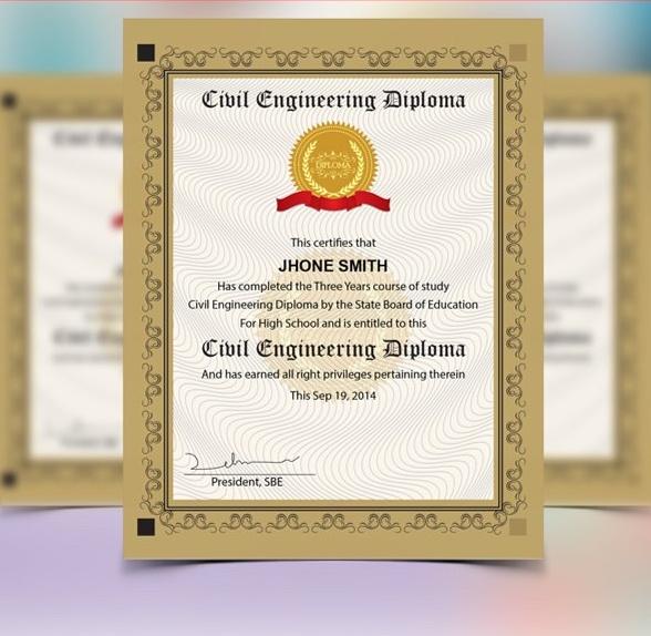 Engineering Diploma Certificate Template