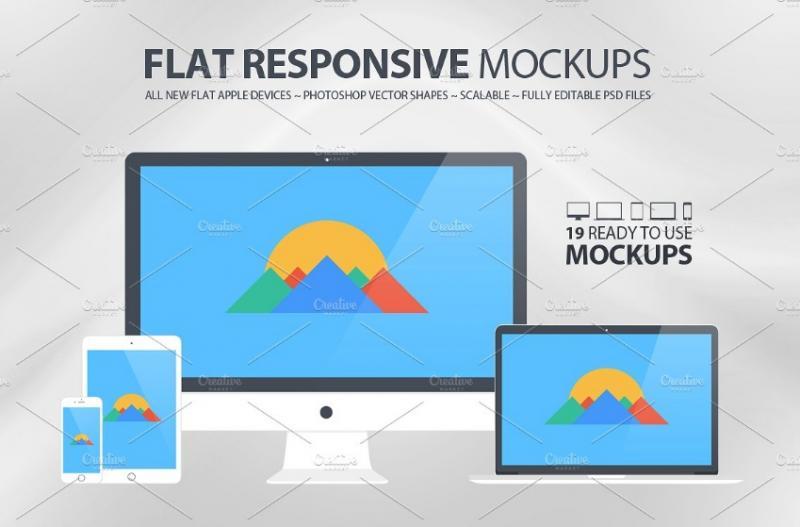 Flat Responsive Mockup PSD