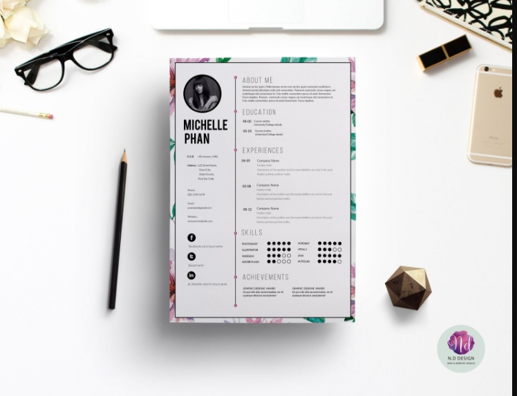 Floral IT Resume Template