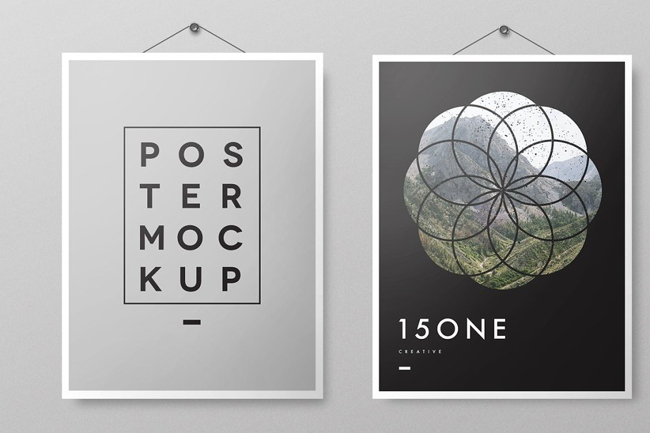 Hanging Posters Mockusp PSD