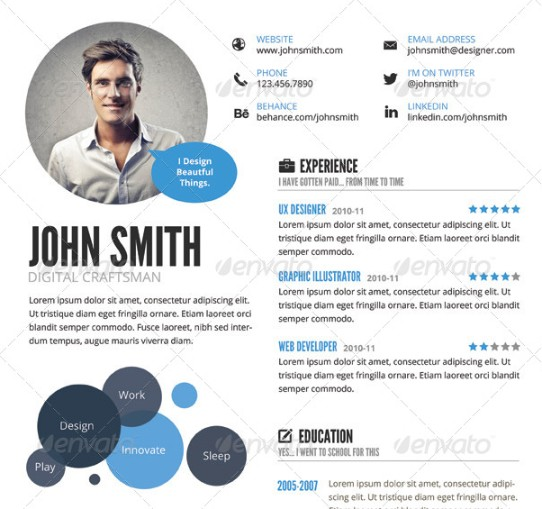Infigraphic Resume Template PSD