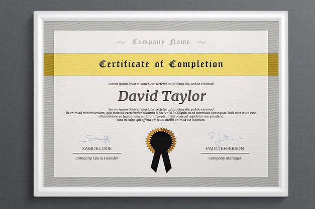 Landscape Certificate of Completion Template