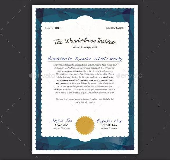 Layered Certificate Template PSD