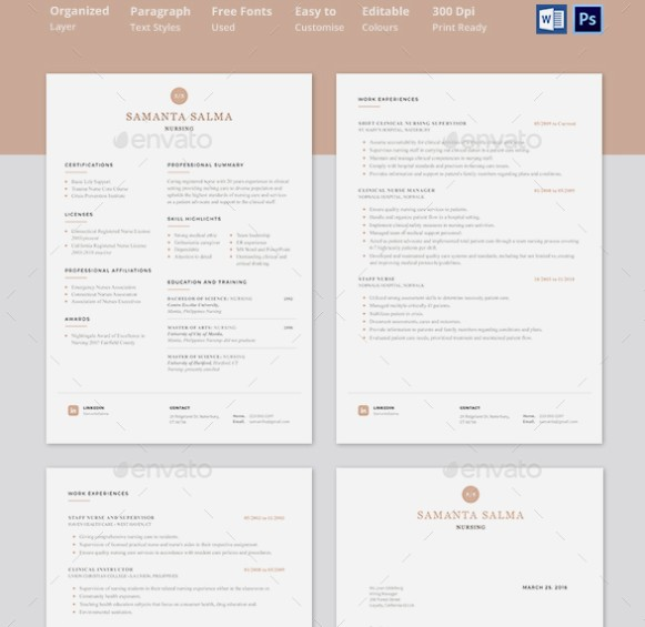 10  nursing resume template psd  ms word and in design