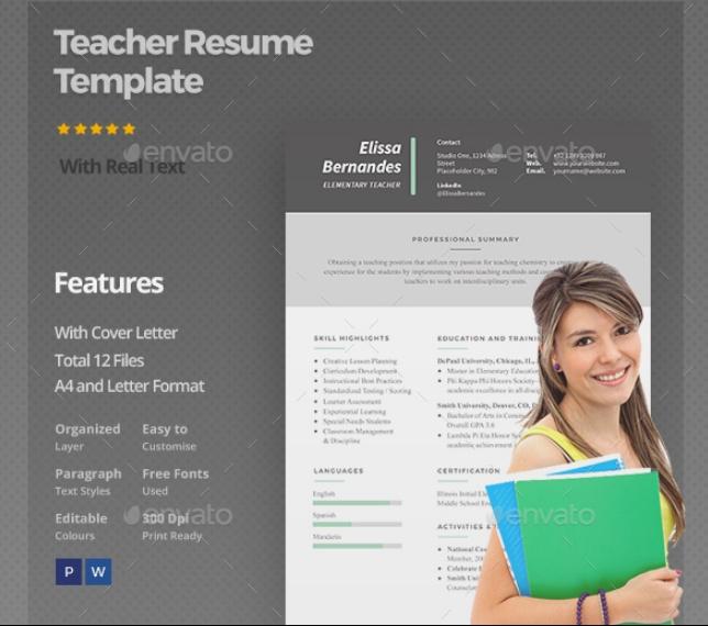 Layered Teacher Resume Template