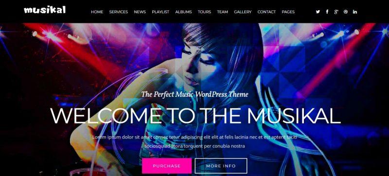 One page music wordPress Theme