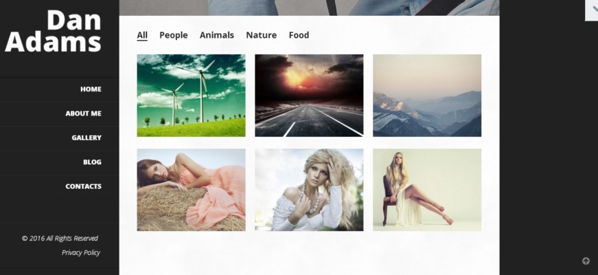 Online Photography Portfolio WordPress Theme