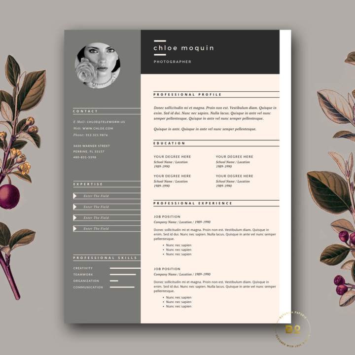 Photographer One Page Resume Template