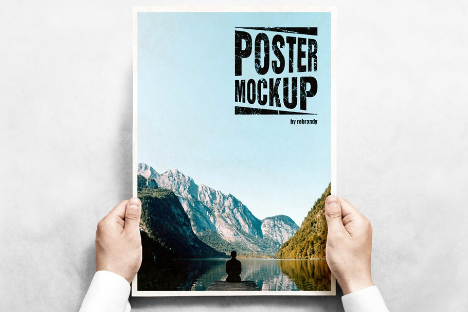 Poster in Hand Mockup PSD