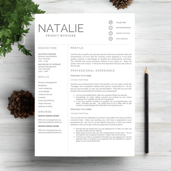 Project Manager One Page Resume Template