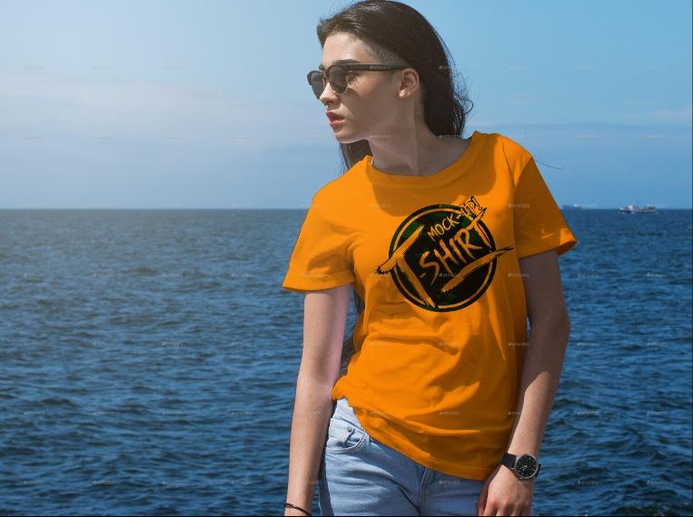 Realistic Women T Shirt Mockup