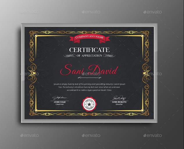 US Letter Certificate Recognition Template