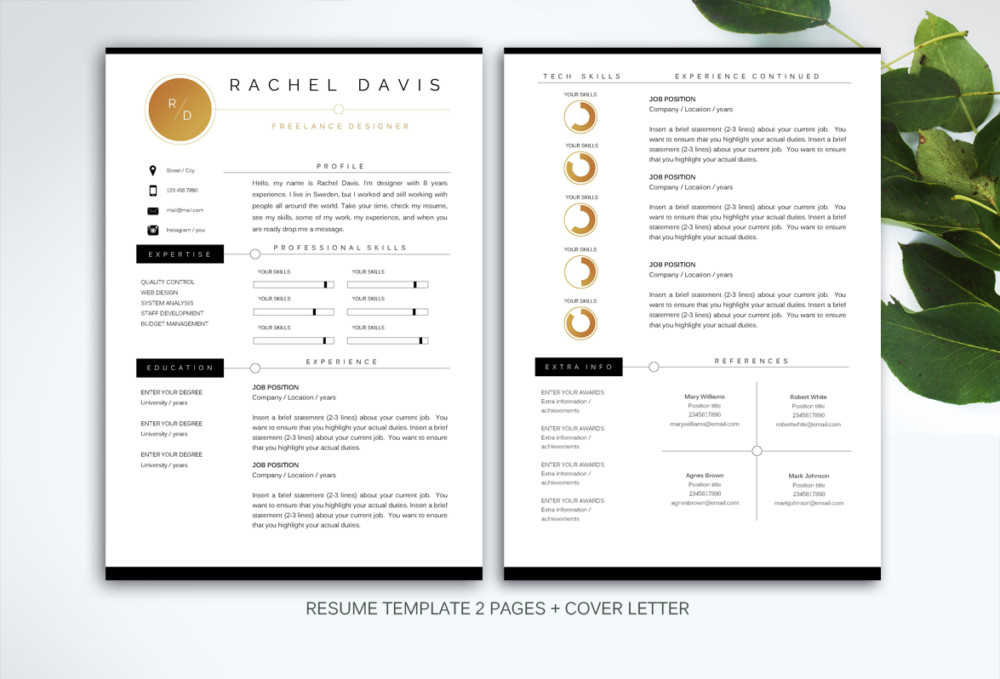 Web Designer Two Page Resume Template