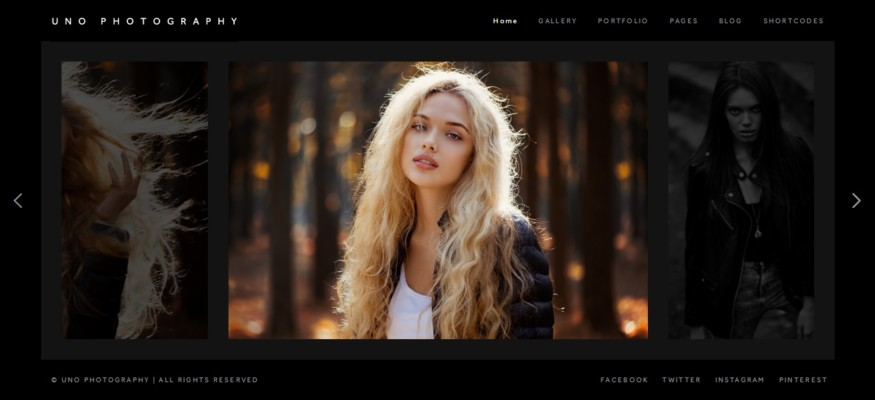 Wordpress Photography Theme with Horzontal Gallery