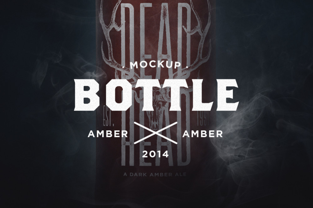 dark amber beer wine water free bottle mockup psd template
