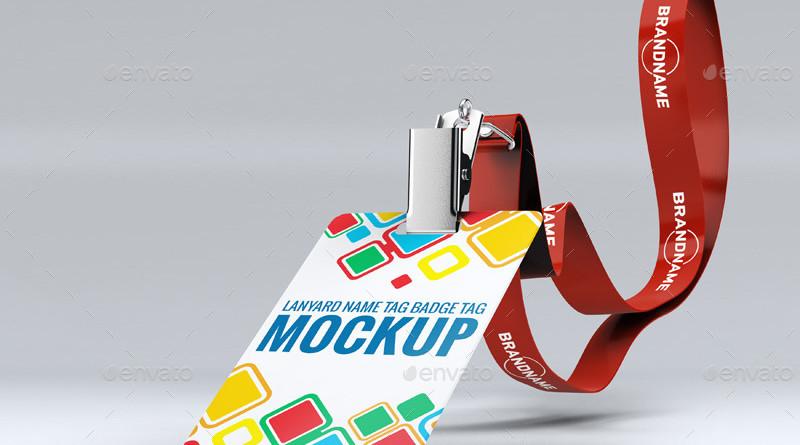 ID Card & Lanyard Mockup PSD Lanyard Name Badge Tag Mock-up business id card mockup
