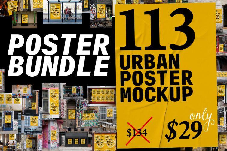 113+ Poster Mockup PSD Bundle