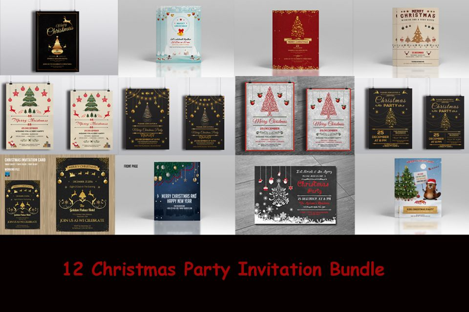12 Christmas Party Invitation Template Bundle