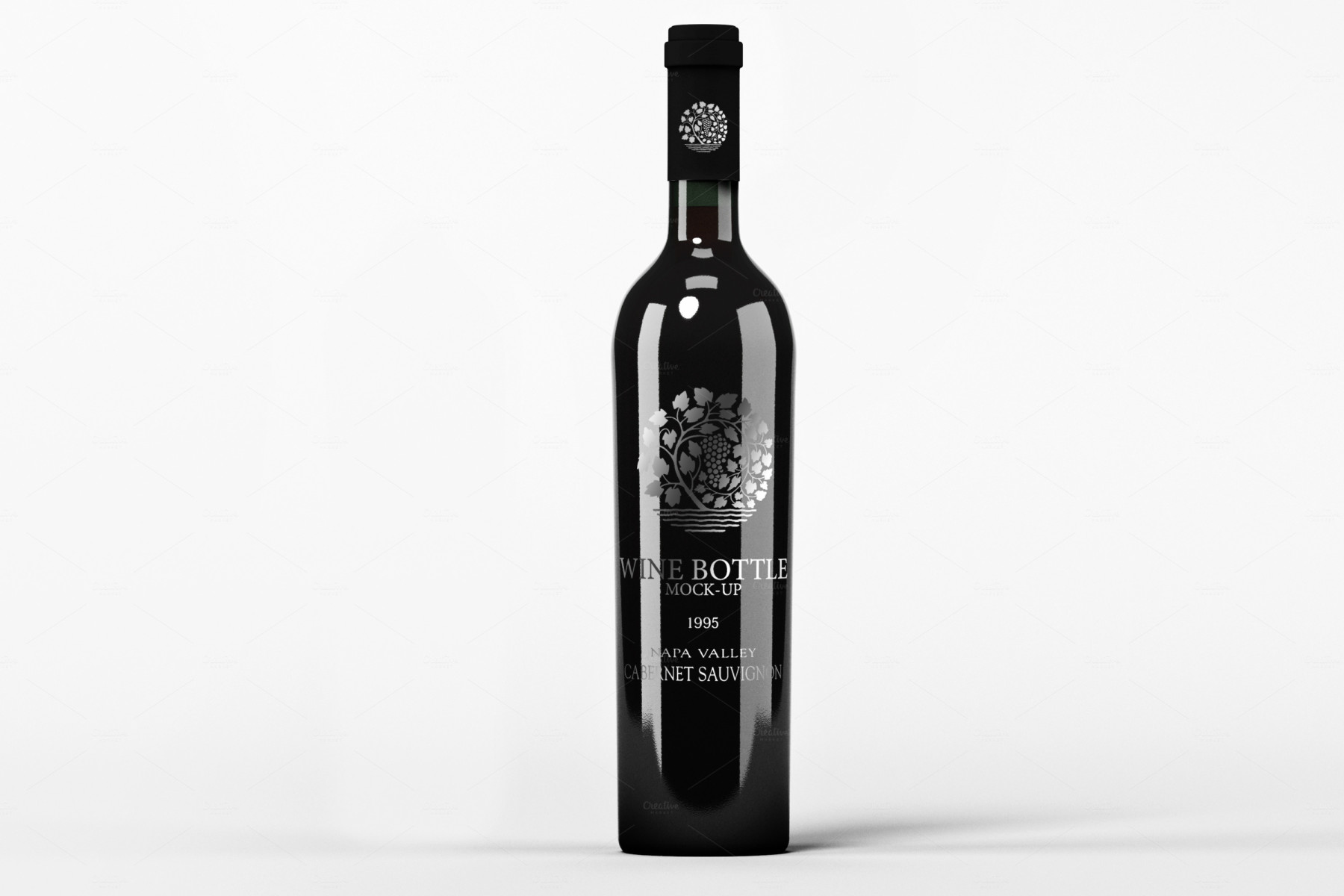 mockup-4-free wine water soda bottle mockup psd black brand