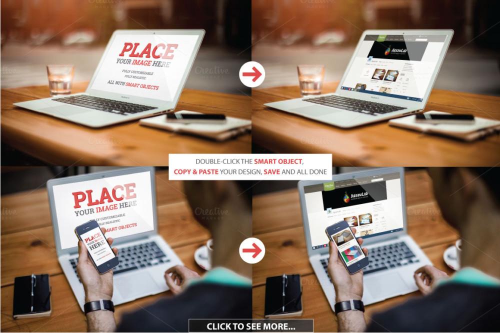 amazing laptop iphone mackbook air mockup template psd grid