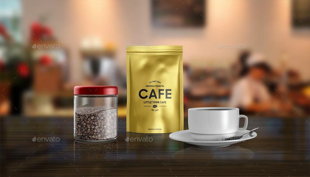 foil-bag-mockup coffee bag cup cofe barnding