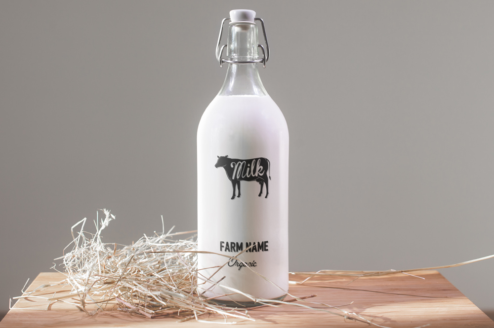 creative milk bottle mockup psd template free