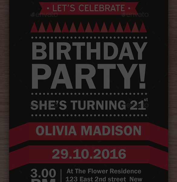 21st Birthday PSD Invitation Template