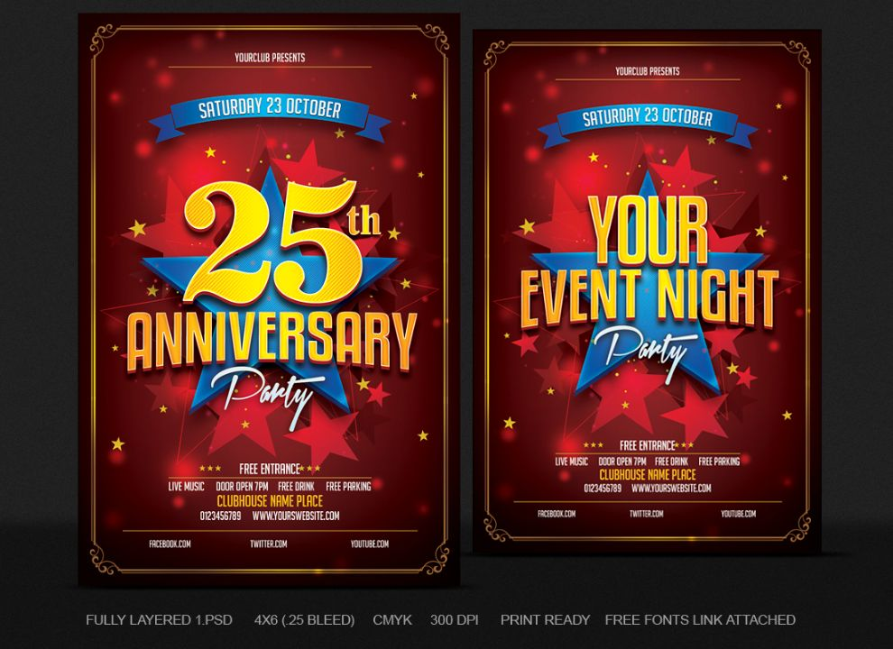 25th Birthday Anniversary Party Flyer TEmplate