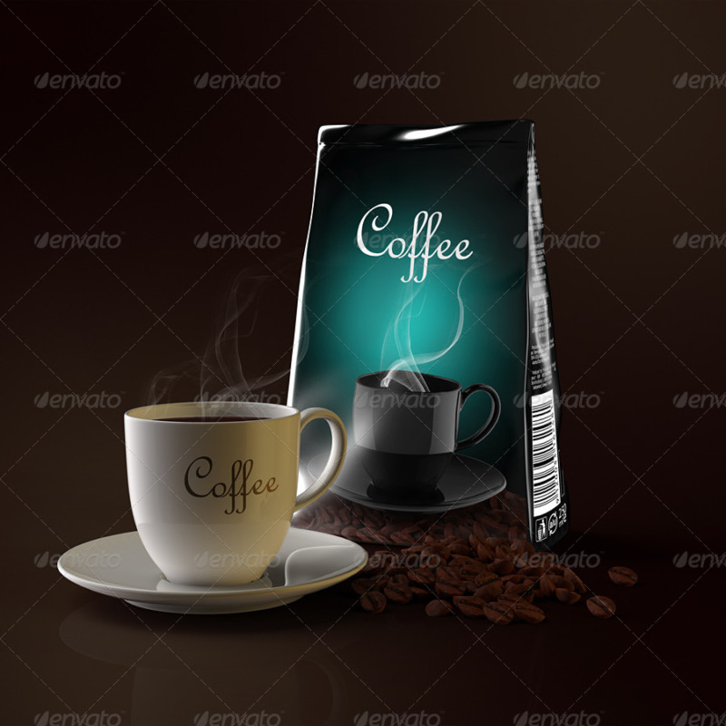creative cafe coffee bag and cup mockup free psd template