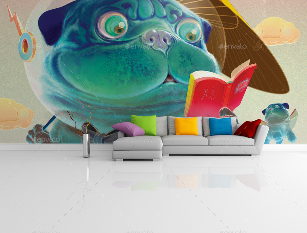 3D Wall Art Mockup PSD
