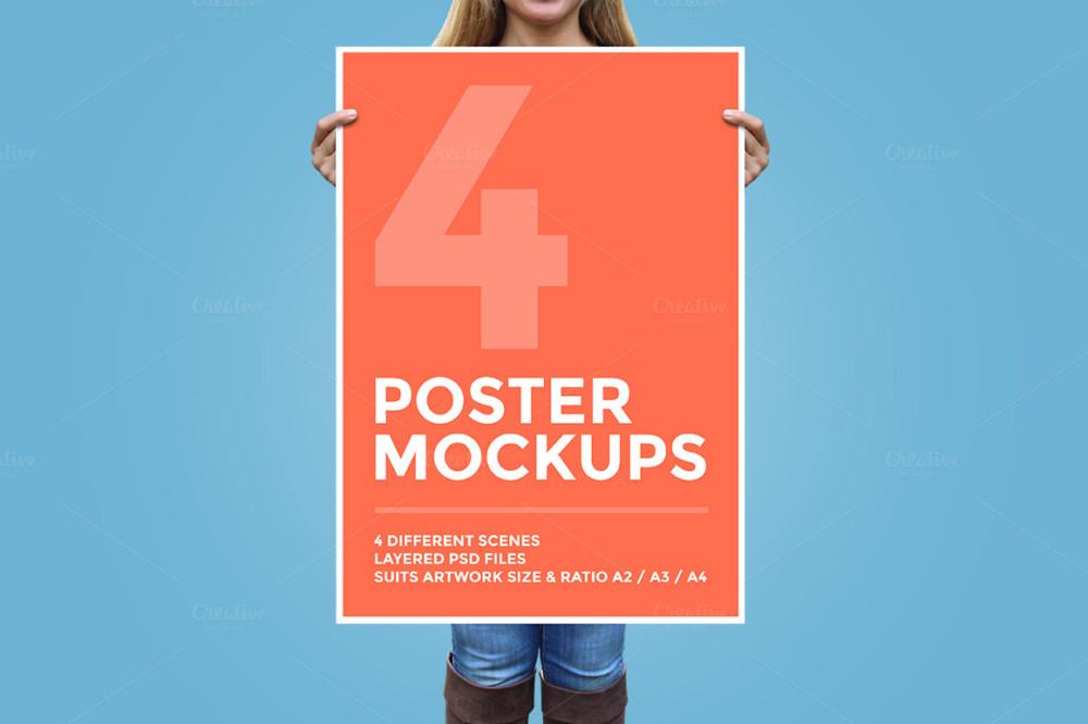4 Poster Mockup PSD Bundle