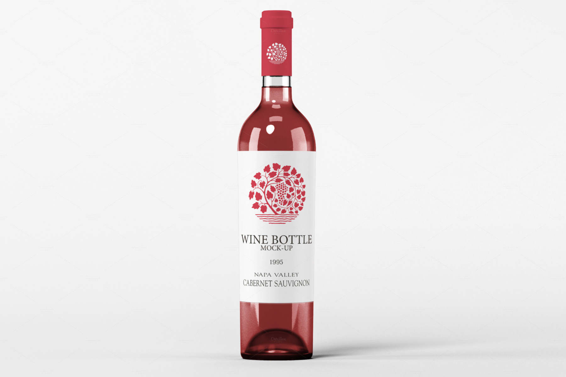 free wine beer water soda bottle mockup psd template